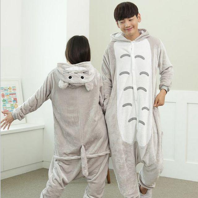 d834bc2b42 Pijamas de animales Loungewear mujeres lindo gato manga completa con  capucha pijama de poliéster Pigiama parejas