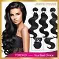 7A grau brasileira onda corpo cabelo virgem 3 pacote tecer cabelo humano onda do corpo não transformados brasileiro produto de cabelo Yotchoi 100 g/pçs
