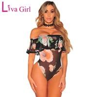 Liva Girl Sexy Sheer Mesh Bodysuit Women Summer Off Shoulder Bodysuits Ruffles Flowers Print Sleeveless Body