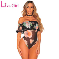 Liva Girl Sexy Sheer Mesh Bodysuit Women Summer Off Shoulder Bodysuits Ruffles Flowers Print Sleeveless Body