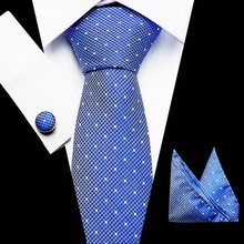 Free shipping Mens Ties 2018 Luxury Paisley Blue Silk Tie with Hanky Set Cufflinks Buisness jacquard Woven Neck