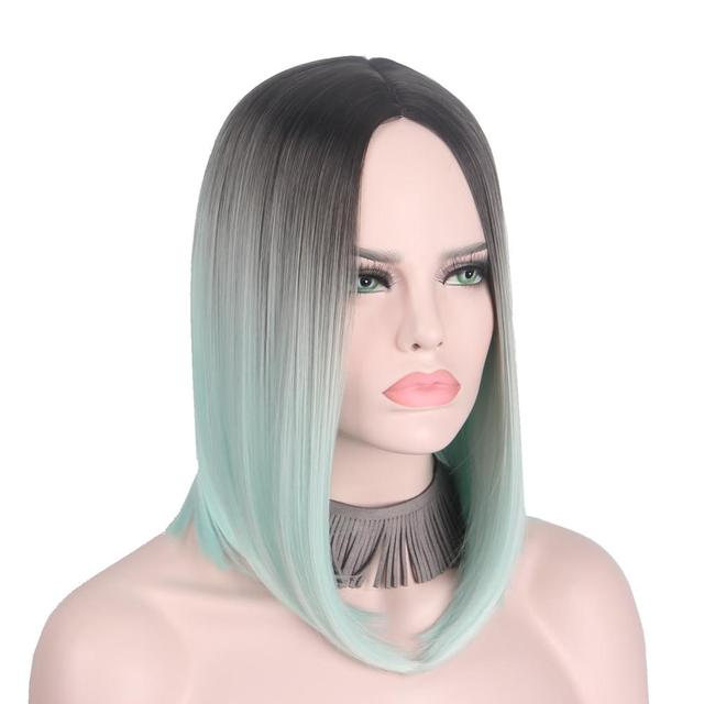 Short Wigs for Women Light Green Short Bob Wig Hair No Bangs Middle Part  Shoulder Length Not Human Hair Lace Front-Anxin Wig 5a0dd56a42