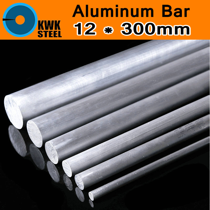 12*300mm Aluminum 6061 Round Bar Aluminium Strong Hardness Rod For Industry Or DIY Metal Material Mould CNC Mold Free Shipping