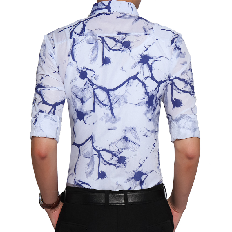 Mens Dress Shirts Printing Casual  High Quality  1