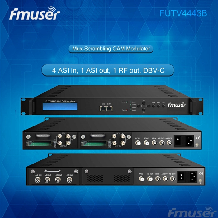 FUTV4443B 4 in 1 Mux-Scrambling QAM Modulator(optional 4*ASI/Tuner in, 4*RF out)adapting CATV system futv4652c isdb t mpeg2 sd encoder modulator tuner cvbs in rf out for home use