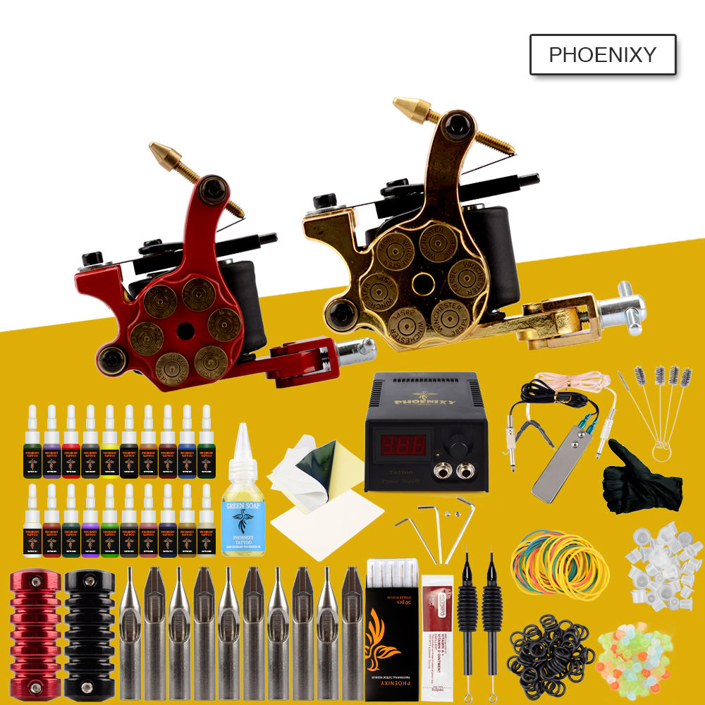 Professional Tattoo Kit 2 Machine Gun 20 Color Inks Permanent Make LCD Power Supply Grips Complete Tattoo Machine Kit Tattoo Set