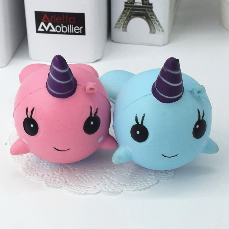High Quality For Squishy Narwhal Uni Whale Pink 11cm Slow Rising Cute Soft Collection Gift Decor Toy Phone Straps ...