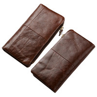 Men Genuine Leather Vintage Bifold Phone Bag Long Wallet Coin Purse Card Clutch Bag