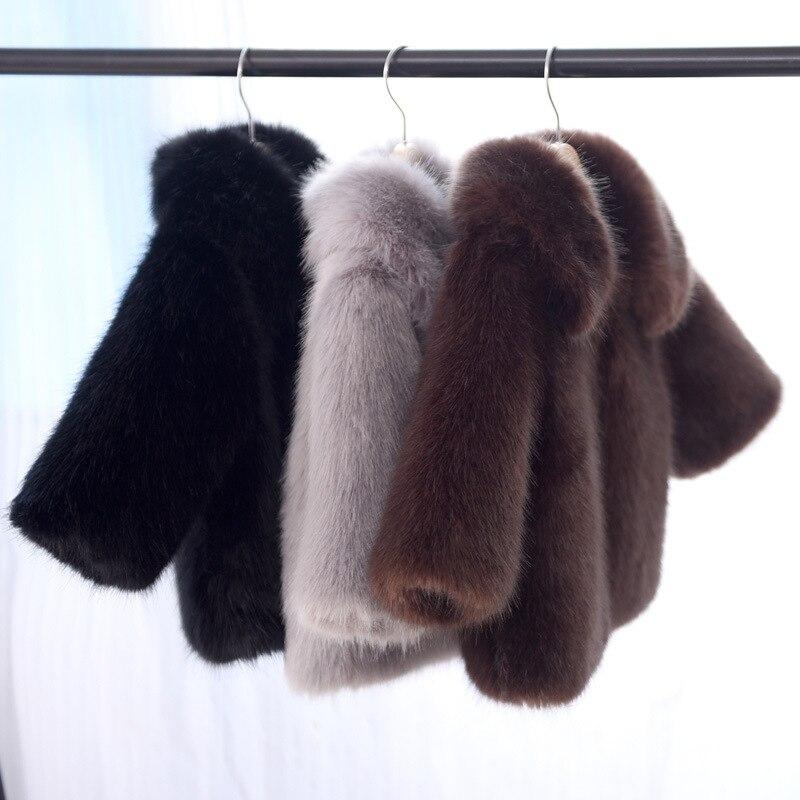 Warm baby girls top clothes winter children faux fur for girls fashion fur little child outerwear & coats