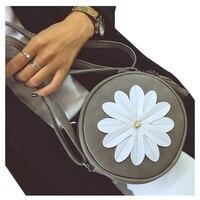 5 Pcs Of 1 Gray PU Leather Female Models Retro Fashion Flowers Tassel Small Round Bag