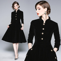 Stand Collar Velour Dress 2018 Elegant Long Sleeve Velvet Dress With Pockets High Waist A Line Velour Dresses Women Party Dress