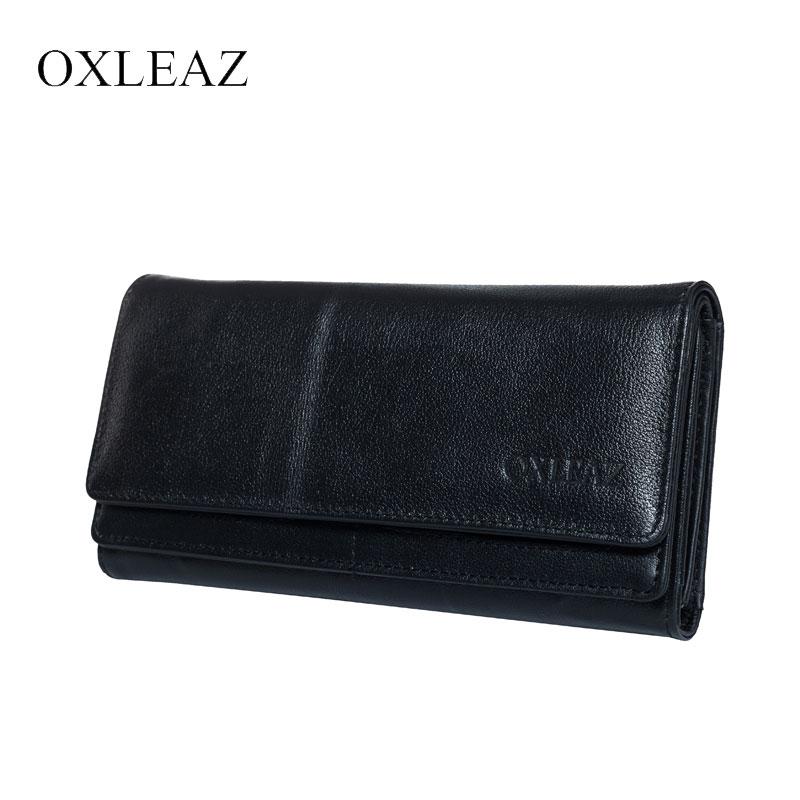 OXLEAZ Brand Flap-over Black Men Purse Long Clutch Bag Mens Wallet Leather Genuine Phone Wallet Cow Leather Wallet for Women