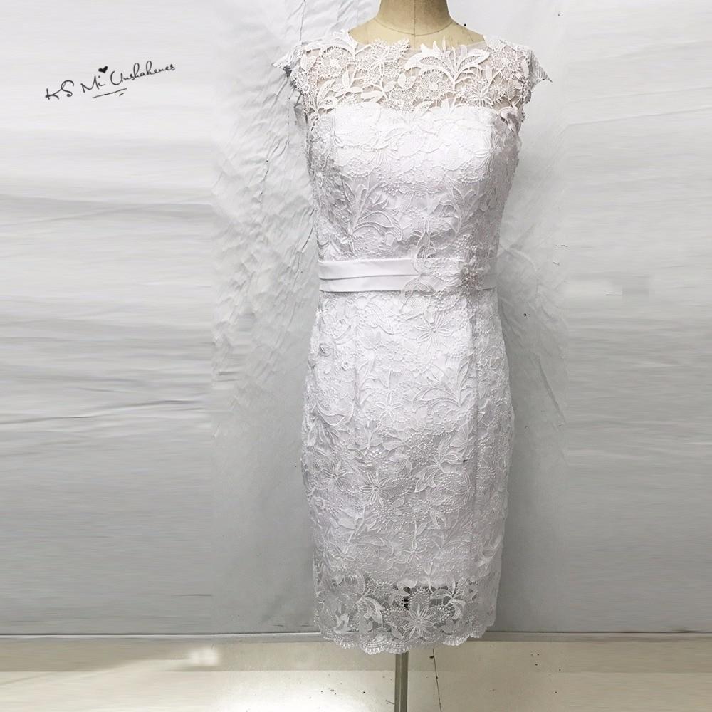 Vintage wedding dress short knee length wedding gowns lace for Lace sheath wedding dress vintage