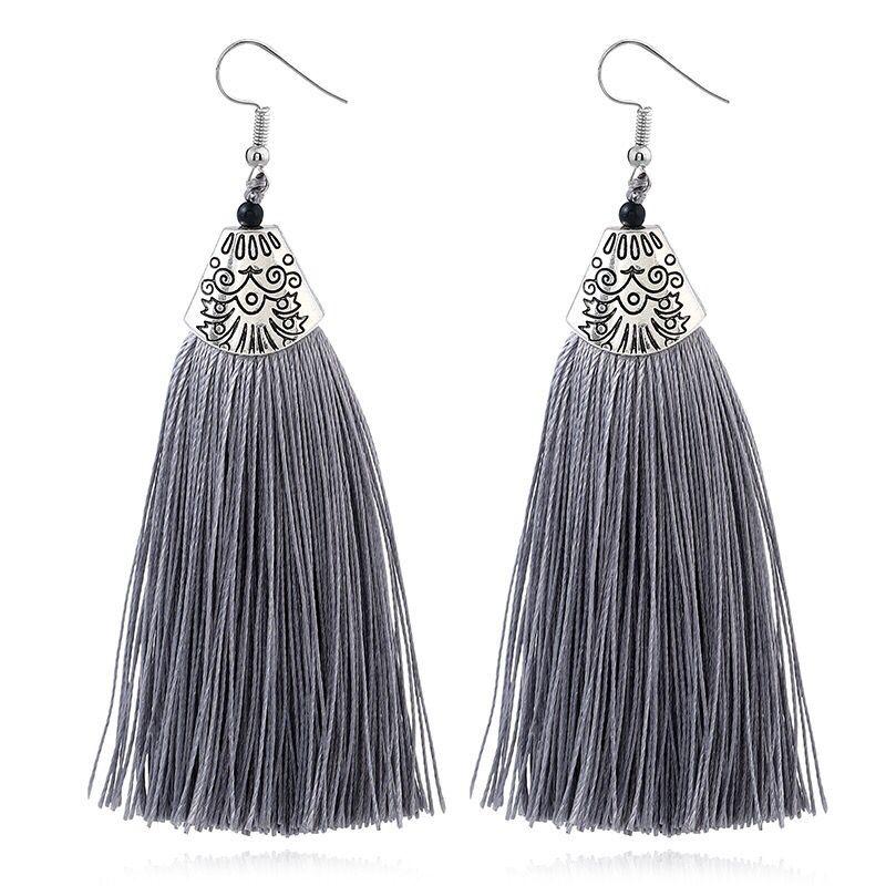 LOVBEAFAS Ethnic Fringe Tassel Long Earring Beads Statement Brinco Dangle Drop Earrings For Women Fashion Jewelry bijoux femme