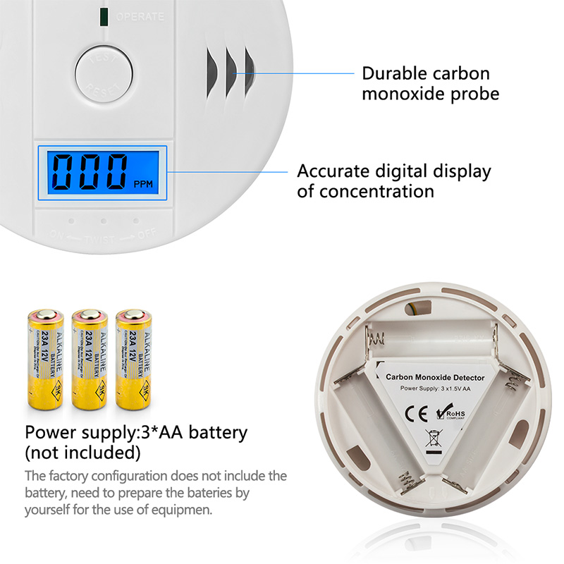 Image 3 - LCD Photoelectric Carbon Monoxide Home Security Protection 85dB Warning High Sensitive Independent CO Gas Sensor Detector Alarm-in Carbon Monoxide Detectors from Security & Protection