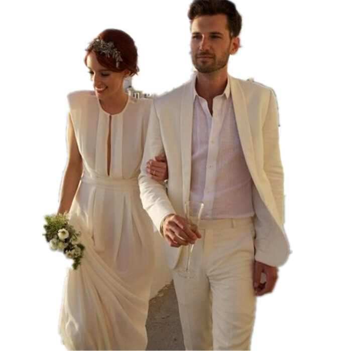 New groom beach wedding dress suit man suit champagne (coat and ...