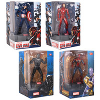 18cm PVC Avengers Infinity War Captain America Iron Man Spider Man Black Panther Action Figure Display Rack with Luminous Base