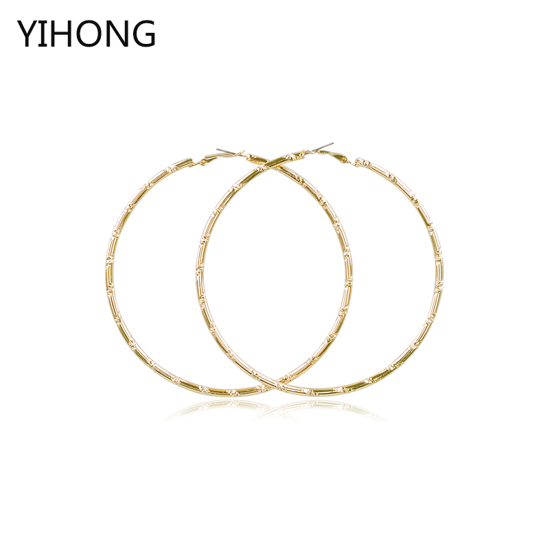 Hot Sale Hoop Circle Basketball Wives Bamboo Earrings Gold Fashion Earrings for Fashion Women Jewelry
