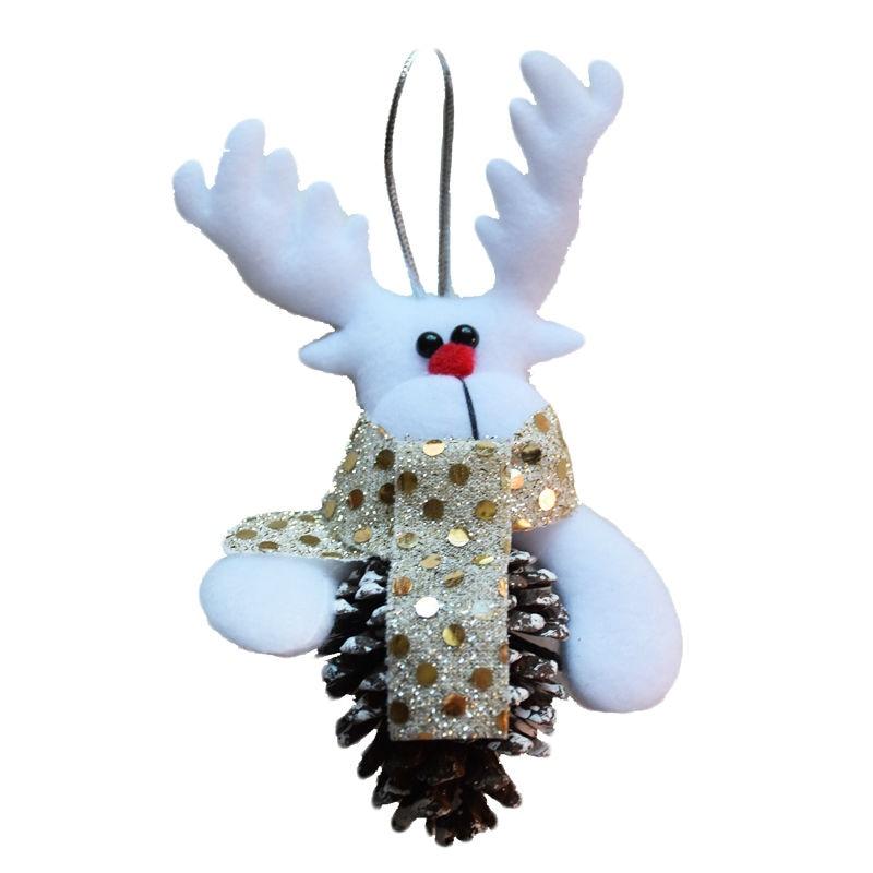 2017 New Year DIY Santa with Wooden Pine Cone Christmas Tree Decorations Ornaments for Home Decor Adornos Navidad SD205