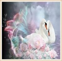 2016 new arrive Diamond Embroidery 5D DIY Diamond Painting two swans Diamond Painting Rhinestone Mosaic full embroidery