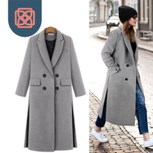 European style brand design double breasted Women's  x-long thickness wool coat winter jacket