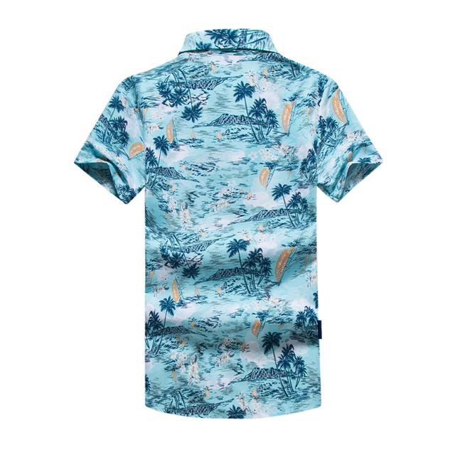 Men Shirt Summer Style Palm Tree Print Beach Hawaiian Shirt Men Casual Short Sleeve Hawaii Shirt Chemise Homme Asian Size 5XL