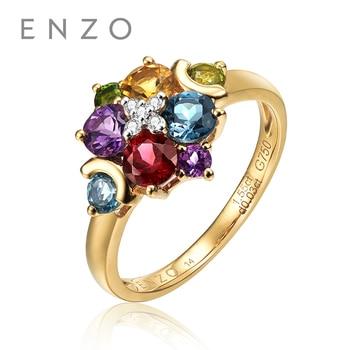 ENZO Pure 18K Yellow Gold (AU750) 8PC1.57 CT Garnet Peridot Tourmaline Citrine Amethyst Women Ring Classic Color Stone Jewelry