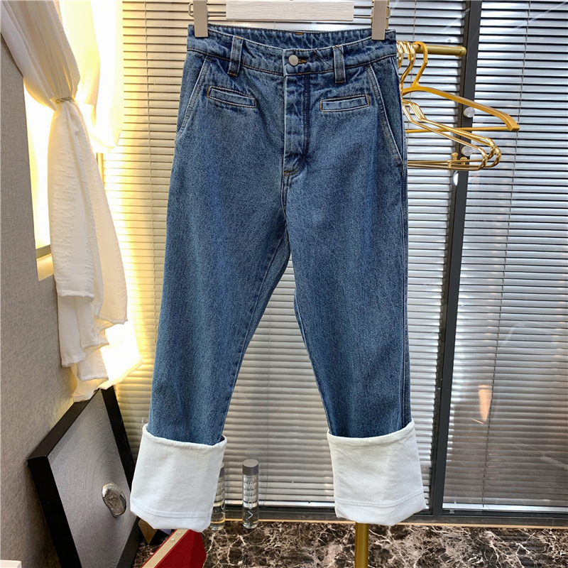 Cowboy Fisherman Pants Design White Roll Pants Wash Jeans Washed  Fake Zippers  Light  Full Length  High Waist Jeans 2019