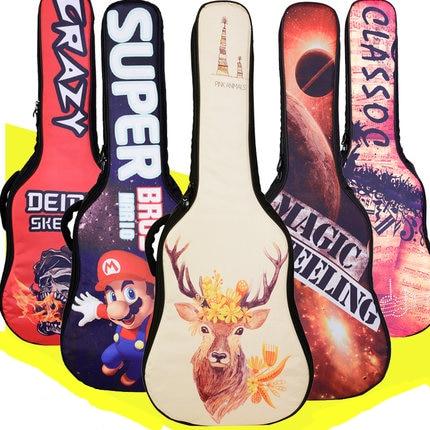 Sac de guitare Cas Épaissir Populaire Flattop Balladry Acier cordes Acoustique Classique 39 40 41 Sac À Dos Accessoires Transporter Concert Peint