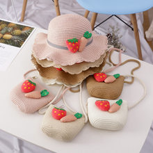 2019 Hot Sale Hat Bag Set Wavy Straw Hats Strawberry Radish Cap Single Shoulder Bag for Kids Spring Summer Beach 19ing(China)