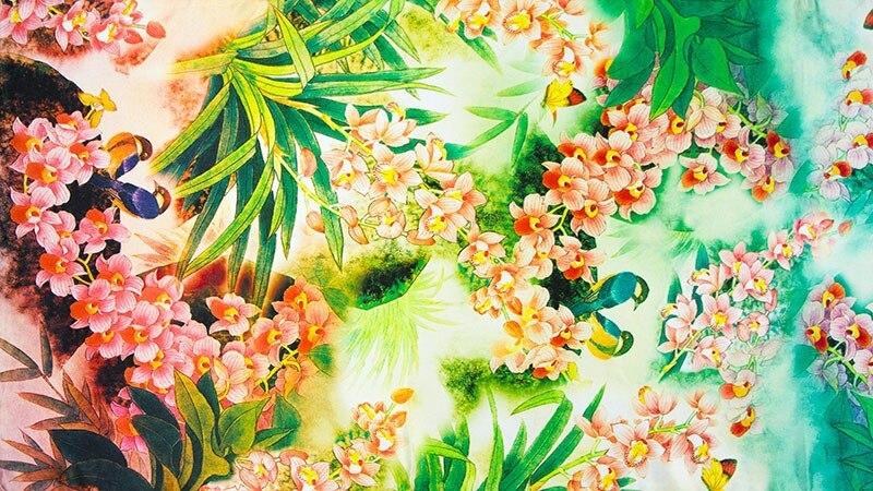 Шелковый женский шарф бабочка, Орхидея, шелк шаль дизайнерский шарф Шелковый пашмины длинный Цветок шёлковая Роскошная обертка леди подарок