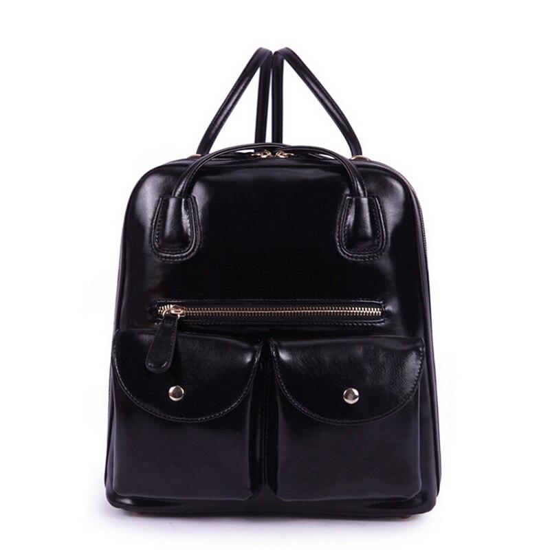 Genuine Leather Backpack Women Double Zipper Preppy Style Rucksack Black Girls School Bags TeenageTravel Bagpack 2017