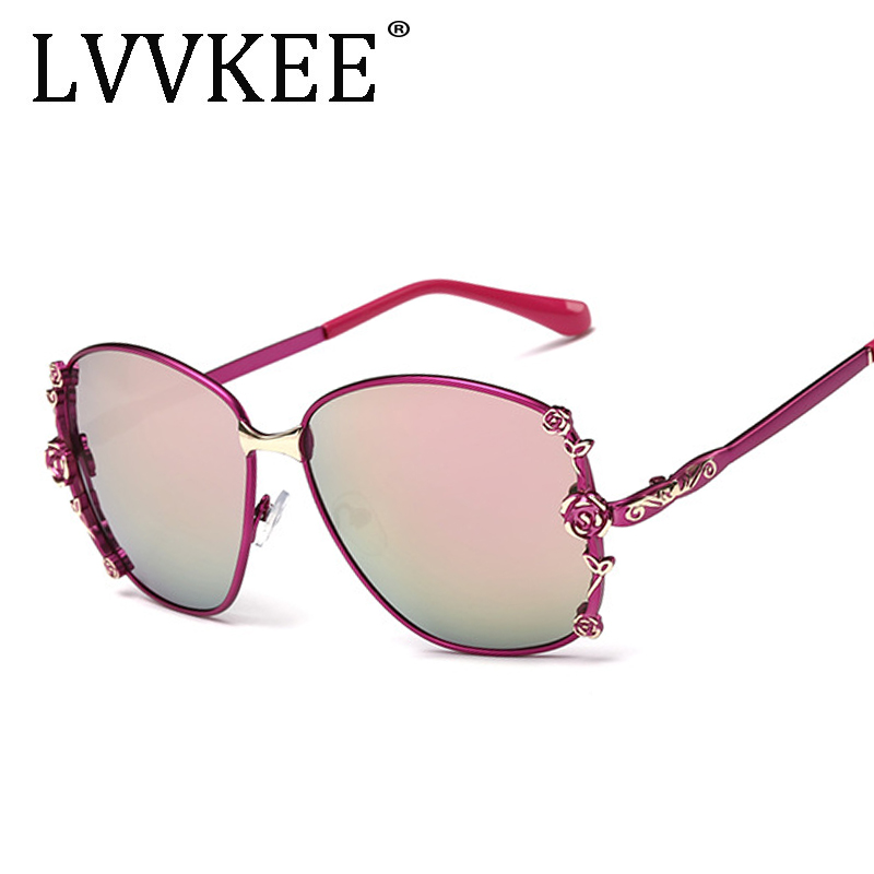 lvvkee Elegant Ladies Oversized Flower Sunglasses Women Vintage Luxury Designer Sun Glasses Female UV400 Driving Goggles