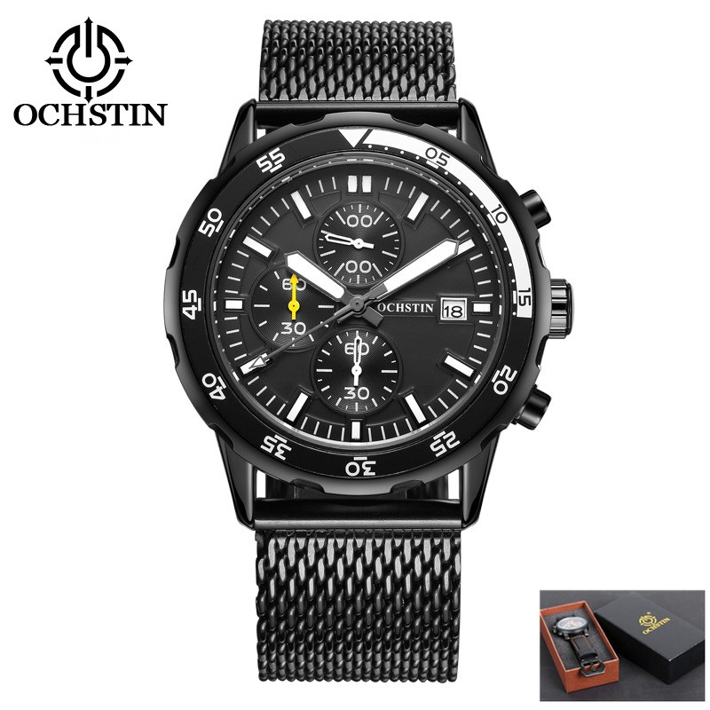 Top Luxury Brand OCHSTIN Men Military Watch Stainless Steel Sport Watches Men's Quartz Clock Male Wristwatch Relogio Masculino 2017 ochstin luxury watch men top brand military quartz wrist male leather sport watches women men s clock fashion wristwatch