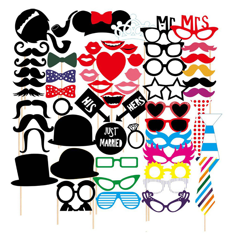 58pcs Wedding Photo Booth Props Party Masks Hat Mustache Lip Photobooth Props Wedding Party Decoration Birthday Party Favor Gift