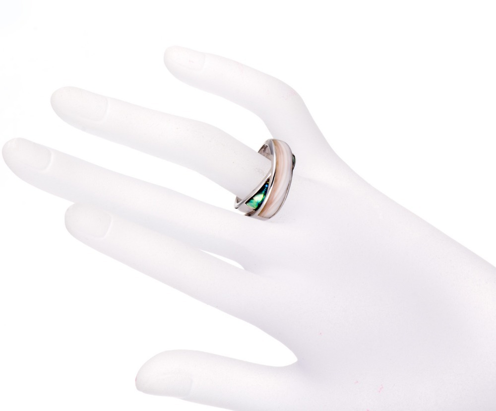 cafd3ea4491c28 Aliexpress.com : Buy Hutang Pink Mother of pearl and Abalone shell Solid  Sterling Silver Cross Ring from Reliable mother pearl rings suppliers on  HUTANG ...