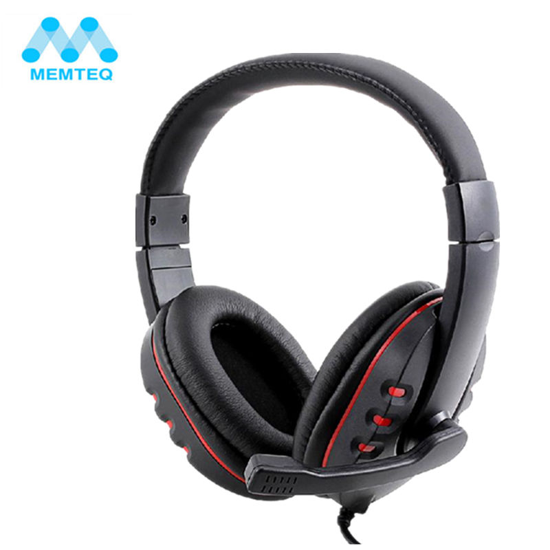 MEMTEQ Headset Gamer Gaming Headset USB 2.0 Leather Computer Headphones with Microphone 2m for PS3 Playstation3 Laptop PC Black