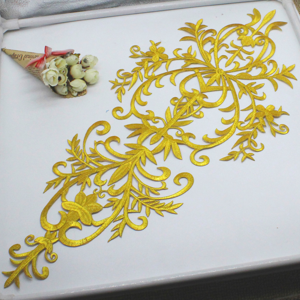 Image 4 - Gold Appliqued Iron On Motif Flower Dimija Vintage Diy Trims Shiny Metallic Embroidered Patches Gold And Silver 58cm*27cm-in Lace from Home & Garden
