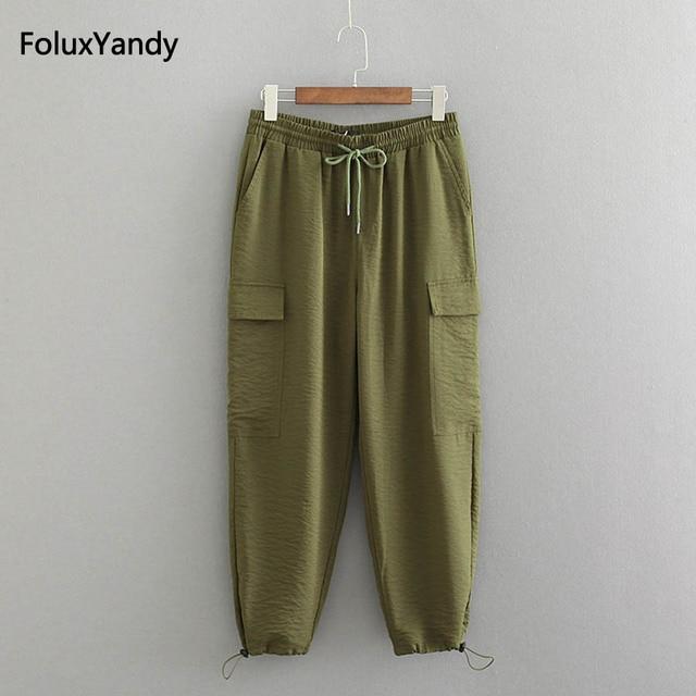 62169da13c5 Army Green Cargo Pants Women Plus Size 3 4 XL Casual Loose Pockets Pants  Black Trousers KKFY2096