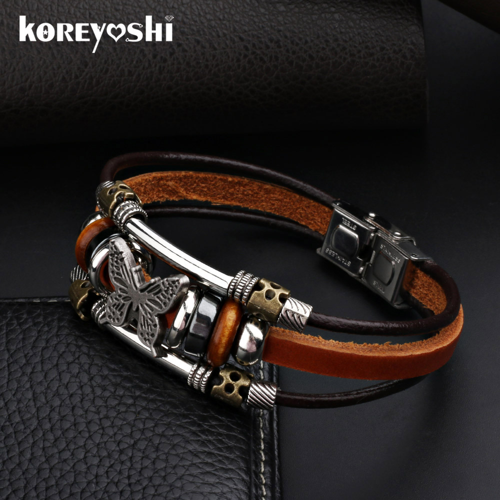 Butterfly Armbånd 2018 Hot Sales Håndlaget Flettet spenne Fashion Style Populære Charm Leather Armbånd Bangles for Men Women