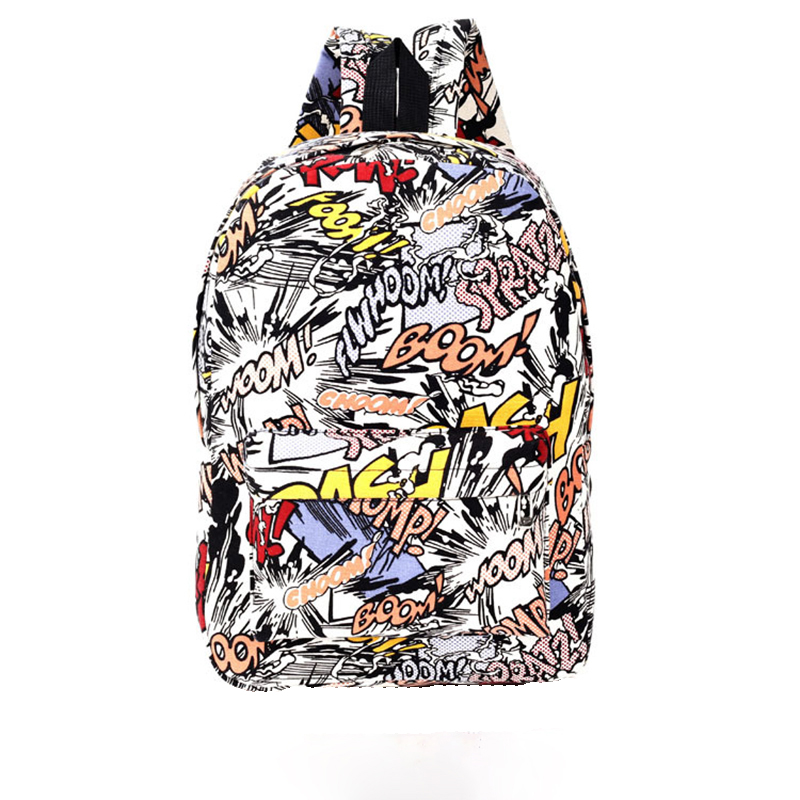 LACATTURA cartoon character printing backpack Graffiti floral backpack women men mochila masculina school bag bolsa feminina