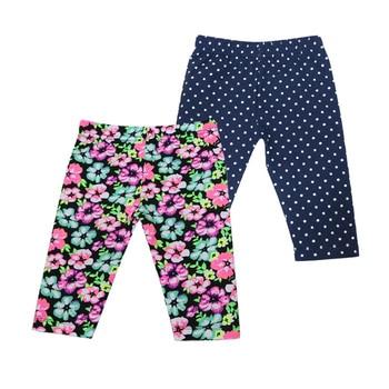2018 New Style Baby Long Knee Length Pants Elastic Waist Leggings 2 pcs/lot Kids Clothes  1