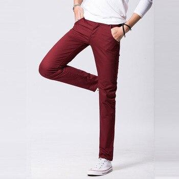 d58d8cda5cfd Otoño de 2018 nuevo diseño pantalones casuales para hombres de algodón Slim  Pantalón recto moda Pantalones caqui negro pantalones hombres tamaño 29- ...
