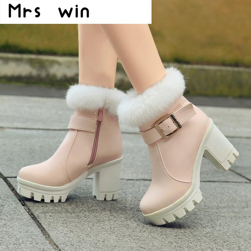2016 new fashion thick high heels warm snow boots fur inside women's ankle boots platform shoes woman 11cm heels 2013 new winter high platform soled high heeled snow boots female side zipper rabbit fur thick heels snow shoes h1852