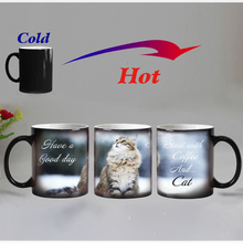 Free shipping Lovely CAT Heat Reveal Mug Ceramic Color Changing Coffee Mugs Magic Tea Cup