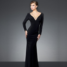 Fashion Vollständige Sleeve Vestido de Noite 2016 Sexy V-ausschnitt Illusion Zurück Formal Kleid Glamorous Meerjungfrau Abendkleider