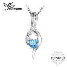 Jewelrypalace 0.6ct original suiza azul topacio blanco del amor del corazón colgante de plata de ley 925 collar de plata de ley 925 18 pulgadas