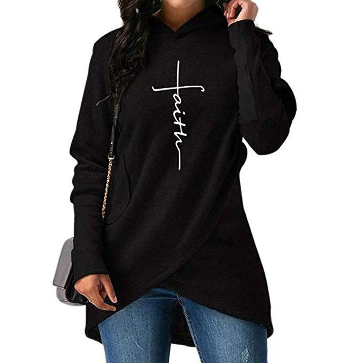 Drucken Frauen Hoodie Herbst Brief Glauben Stickerei Pullover Sweatshirt Frauen Kleidung Casual