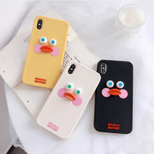 Nette Cartoon Ente Telefon Fall Für iphone 11 Pro Max XS Max X XR 6 6s 7 8 plus Zurück fällen Mode Lustige 3D Touch Silcone Weiche Capa(China)