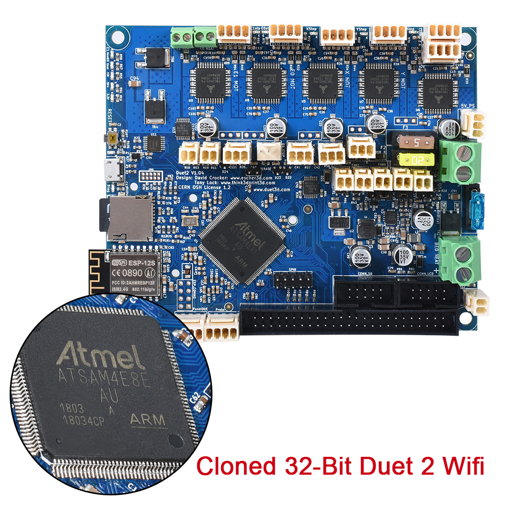 New Cloned 32 Bit Duet 2 Wifi V1.04 Controller Board Duetwifi for PanelDue 4.3 RepRap Advanced Motherboard CNC 3D Printer Board